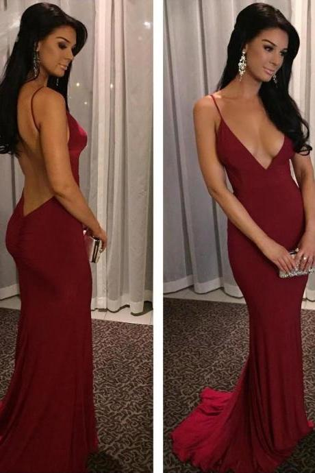 Sexy Maroon Jersey Prom Dresses, Backless Deep V-neck Prom Dresses, Spaghetti Mermaid Prom Dresses, Cheap Prom Dresses, Popular Prom Dresses, Prom Dresses, Long Prom Dresses, PD0968