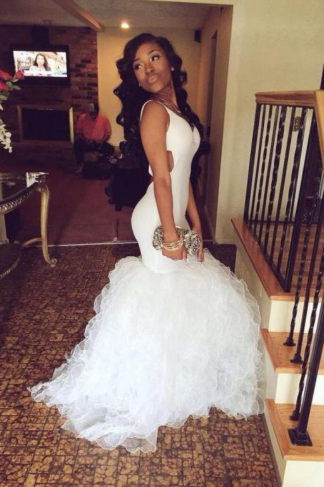 Simple Design White Prom Dresses, Organza Prom Dresses, Mermaid Prom Dresses, Cheap Prom Dresses, Popular Prom Dresses, Prom Dresses, Long Prom Dresses, PD0971