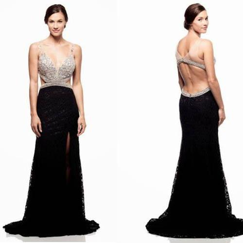 Long Prom Dress,2016 Prom Dress,V-Neck Prom Dress,Sleeveless Prom Dress,Sexy Prom Dress,Beaded Prom Dress,PD0228