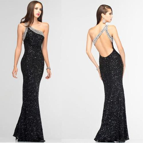 Long Prom Dress,One Shoulder Prom Dress,Black Sequin Prom Dress,Sleeveless Prom Dress,Backless Sexy Prom Dress,PD0229
