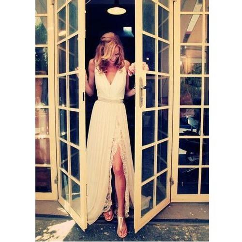 Long Prom Dress,V-Neck Prom Dress,Sleeveless Prom Dress,White Lace Prom Dress,Elegant Prom Dress,Chiffon Slit Prom Dress,PD0235