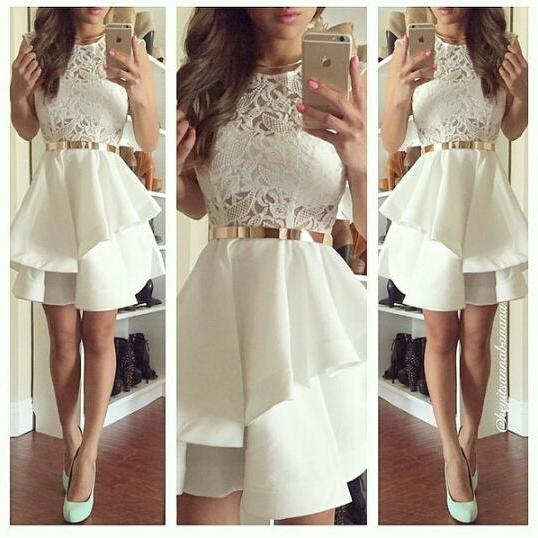 Homecoming Dresses,Lace Homecoming Dresses,White Homecoming Dresses,Juniors Homecoming Dresses,Cheap Homecoming Dresses,PD0456