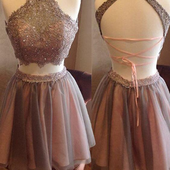 Two Pieces Lace Homecoming Dresses, Halter Homecoming Dresses, Sexy Homecoming Dresses, Dresses For Homecoming, Popular Homecoming Dresses, Short Prom Dresses, Homecoming Dresses, Sweetheart 16 Dresses, PD0804