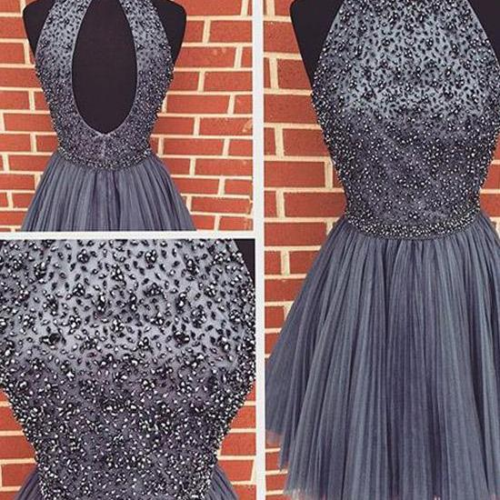 Sexy Beading Homecoming Dresses, Tulle Homecoming Dresses, Open Back Homecoming Dresses, Cheap Homecoming Dresses, Popular Homecoming Dresses, Short Prom Dresses, Homecoming Dresses, Sweetheart 16 Dresses, PD0805