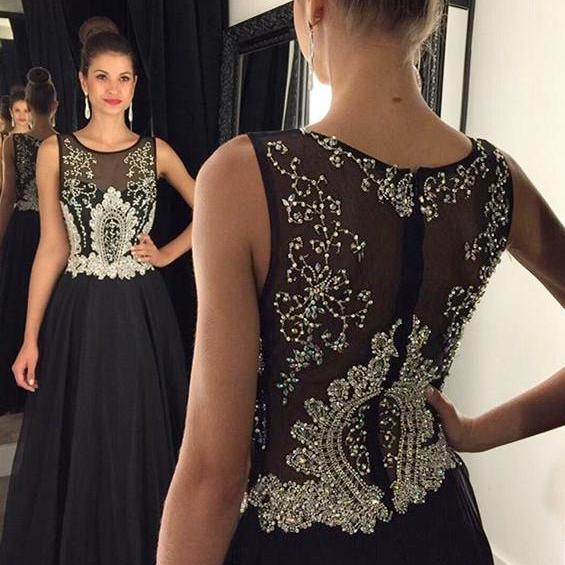 Scoop Neckline Black Satin Prom Dresses, Sparkle Rhinestone Prom Dresses, See Through Prom Dresses, 2017 Prom Dresses, Prom Dresses, PD0908