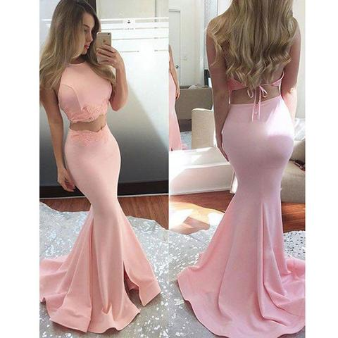 Pink Two Pieces Prom Dresses, Mermaid Prom Dresses, Sexy Prom Dresses, Cheap Prom Dresses, 2017 Prom Dresses, Prom Dresses, PD0914