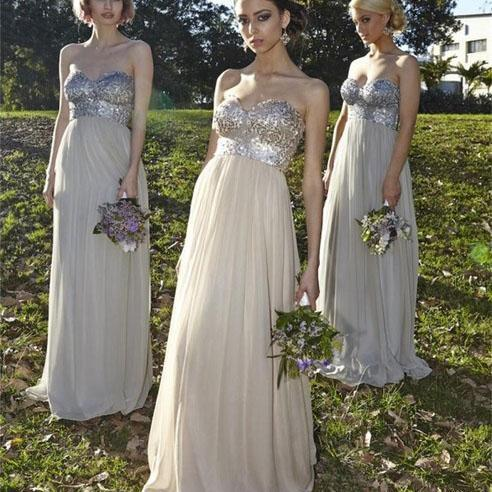 Sweetheart Sequin Top Prom Bridesmaid Dresses, Long Chiffon Bridesmaid Dresses, Popular Bridesmaid Dresses, Cheap Prom Dresses, 2017 Prom Dresses, Prom Dresses, PD0916